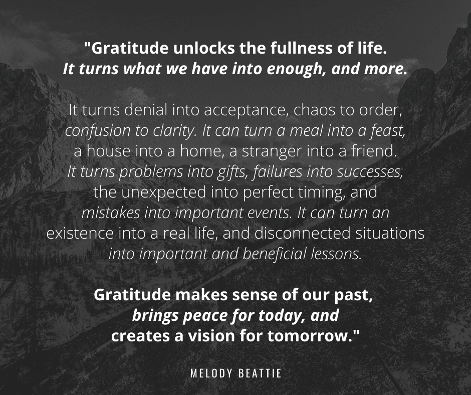 Gratitude turns what we have into enough. | WeavingInfluence.com